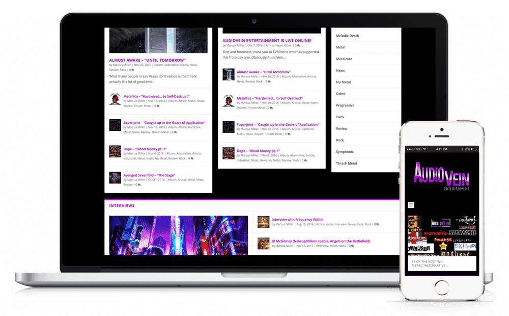AudioVein Entertainment Website by Caffeinated Web Studio