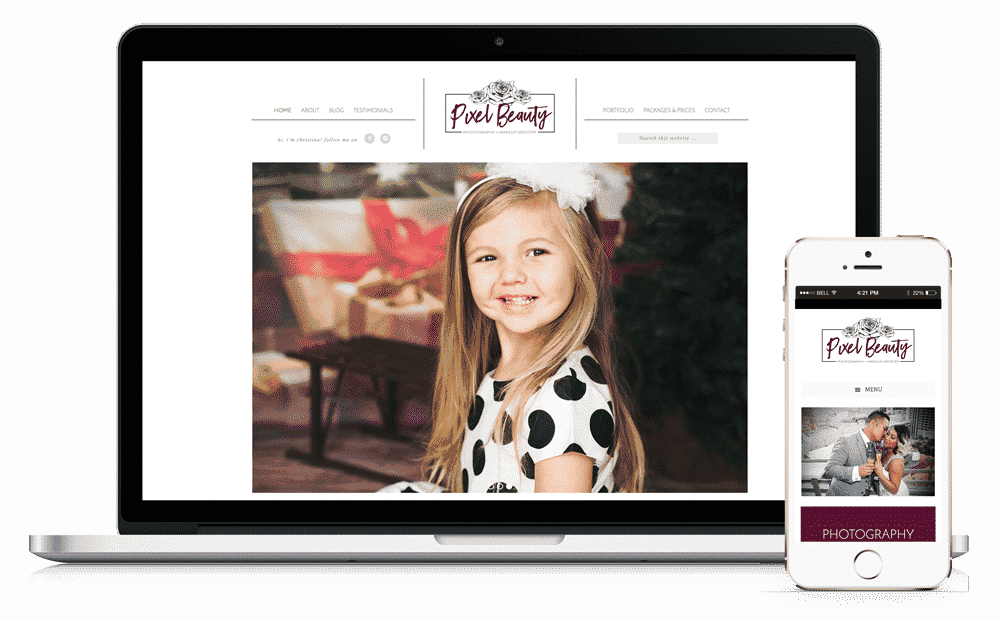 Pixel Beauty Photography Website by Caffeinated Web Studio
